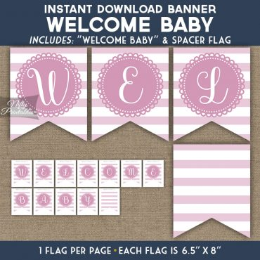 Baby Shower Banner - Loop Stripe Pink