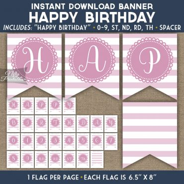 Happy Birthday Banner - Loop Stripe Pink