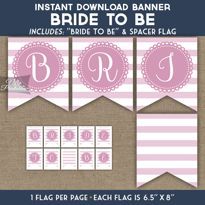 graphic relating to Printable Bridal Shower Signs named Bridal Shower Banner - Loop Stripe Purple