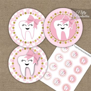 Tooth Dental Pink Gold Cupcake Toppers