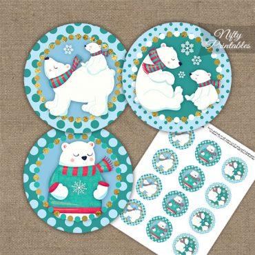 Polar Bear Holiday Cupcake Toppers