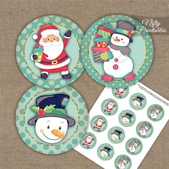 Santa Snowman Cupcake Toppers