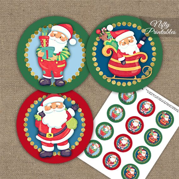 Santa Claus Trio Cupcake Toppers