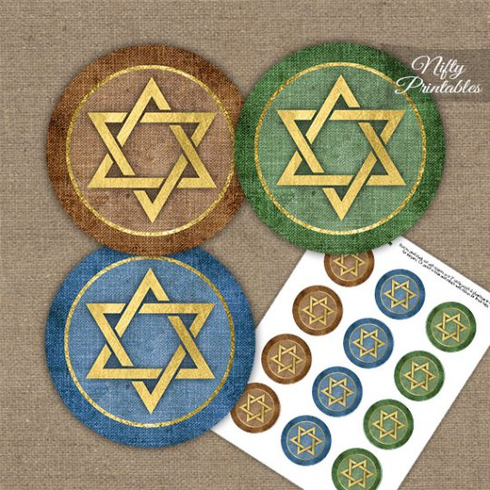 Star Of David Linen Cupcake Toppers