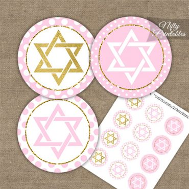 Star Of David Pink Gold Polka Dot Cupcake Toppers