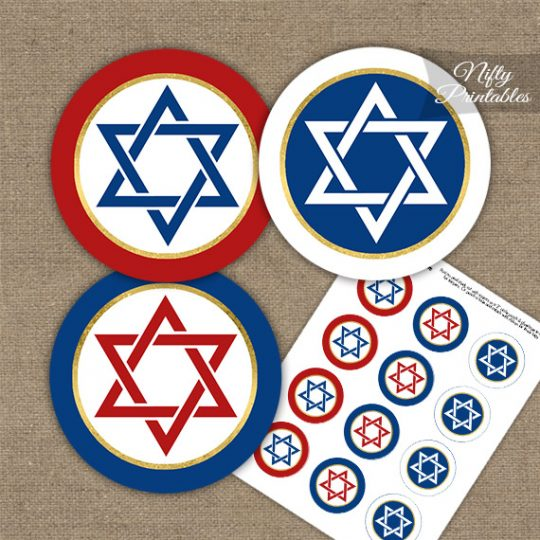 Star Of David Red White Blue Cupcake Toppers