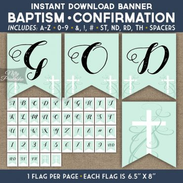 Baptism Communion Banner - Holy Cross Mint Green Swirl