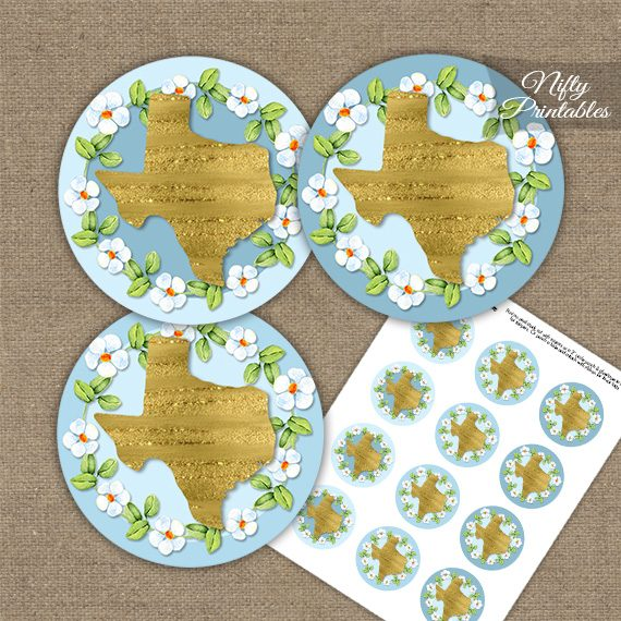 Texas Blue Gold Floral Cupcake Toppers