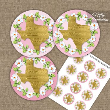 Texas Pink Gold Floral Cupcake Toppers