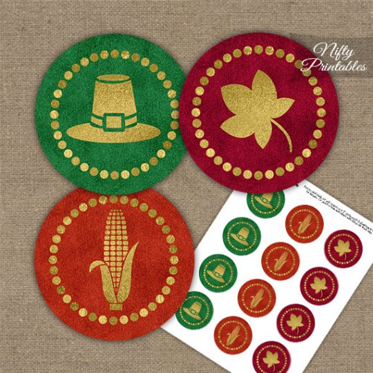 Thanksgiving Gold Autumn Cupcake Toppers
