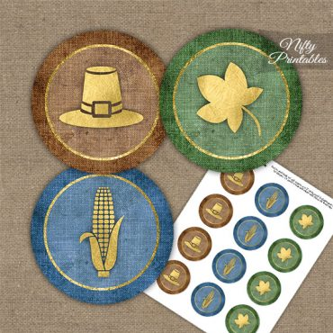 Thanksgiving Linen Cupcake Toppers