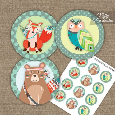 Tribal Animals Mint Gray Cupcake Toppers