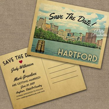 Hartford Connecticut Save The Date Skyline PRINTED
