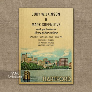 Hartford Connecticut Wedding Invitation Skyline PRINTED