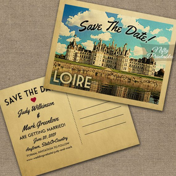 Loire France Save The Date Chateau Chambord PRINTED