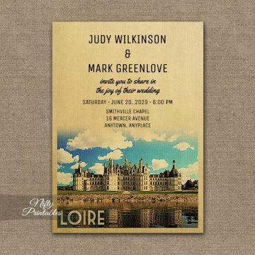 Loire France Wedding Invitation Chateau Chambord PRINTED