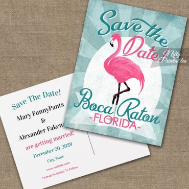 Boca Raton Florida Save The Date Pink Flamingo PRINTED
