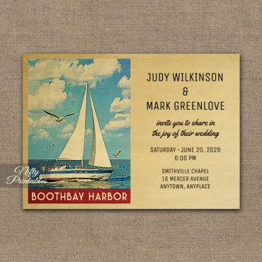 Boothbay Harbor Maine Wedding Invitations Sailboat Nautical PRINTED