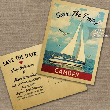 Camden Maine Save The Date Sailboat Nautical PRINTED