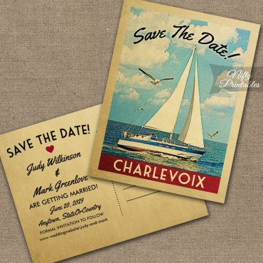 Charlevoix Michigan Save The Date Sailboat Nautical PRINTED
