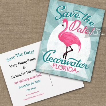 Clearwater Florida Save The Date Pink Flamingo PRINTED