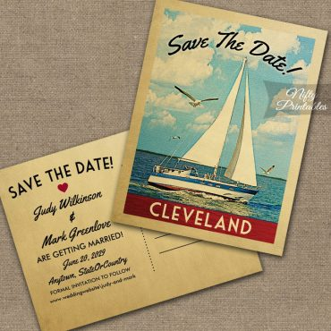 Cleveland Ohio Save The Date Sailboat Nautical PRINTED