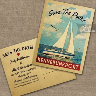 Kennebunkport Maine Save The Date Sailboat Nautical PRINTED