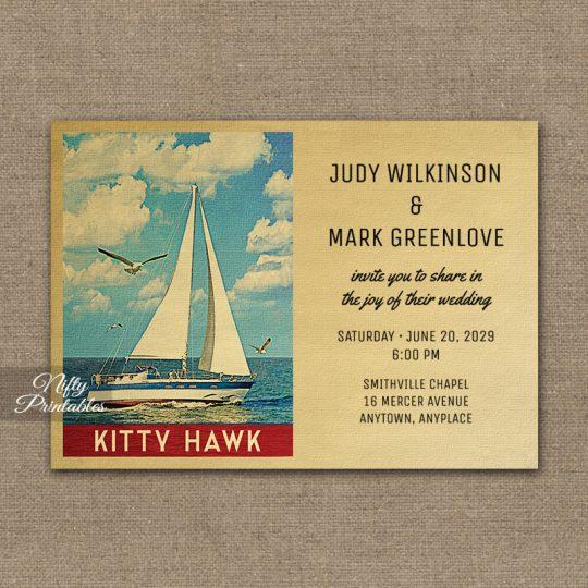 Kitty Hawk North Carolina Wedding Invitations Sailboat Nautical PRINTED