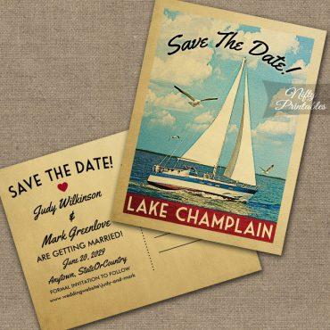 Lake Champlain Save The Date Sailboat Nautical PRINTED
