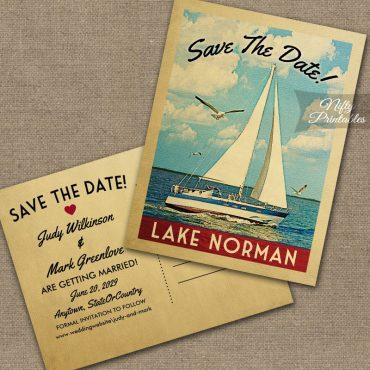 Lake Norman North Carolina Save The Date Sailboat Nautical PRINTED