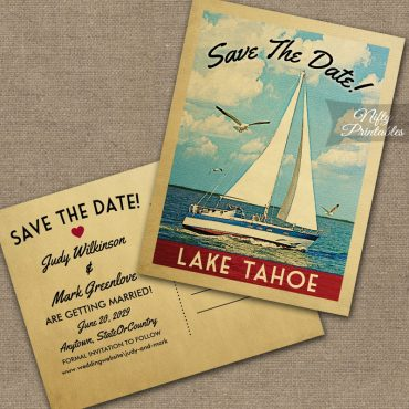 Lake Tahoe California Save The Date Sailboat Nautical PRINTED