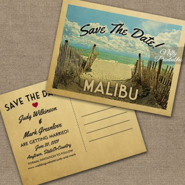 Malibu California Save The Date Beach PRINTED