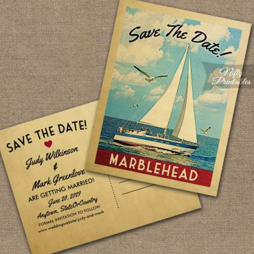 Marblehead Massachusetts Save The Date Sailboat Nautical PRINTED