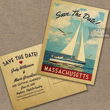 Massachusetts Save The Date Sailboat Nautical PRINTED