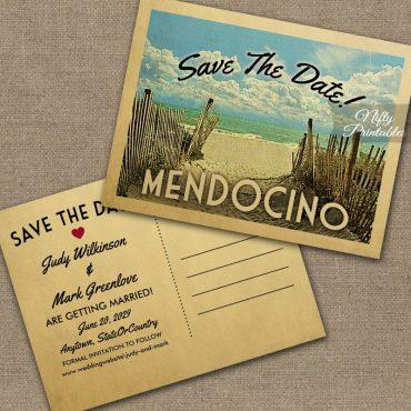 Mendocino California Save The Date Beach PRINTED