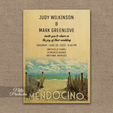 Mendocino California Wedding Invitation Beach PRINTED