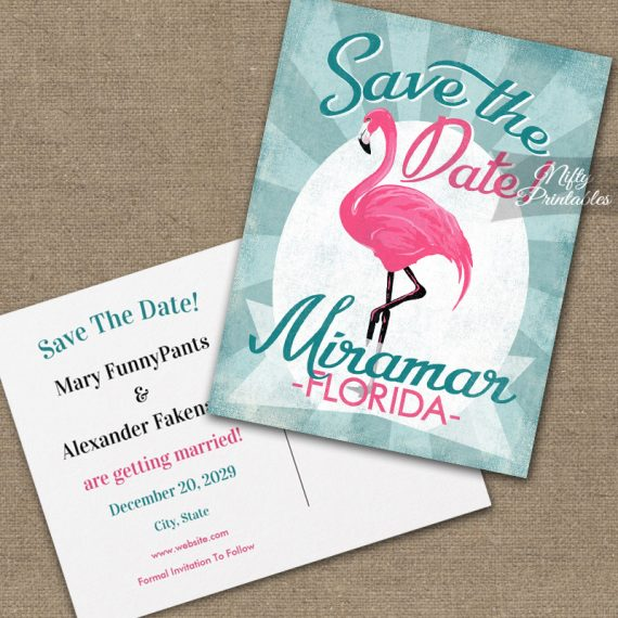 Miramar Florida Save The Date Pink Flamingo PRINTED