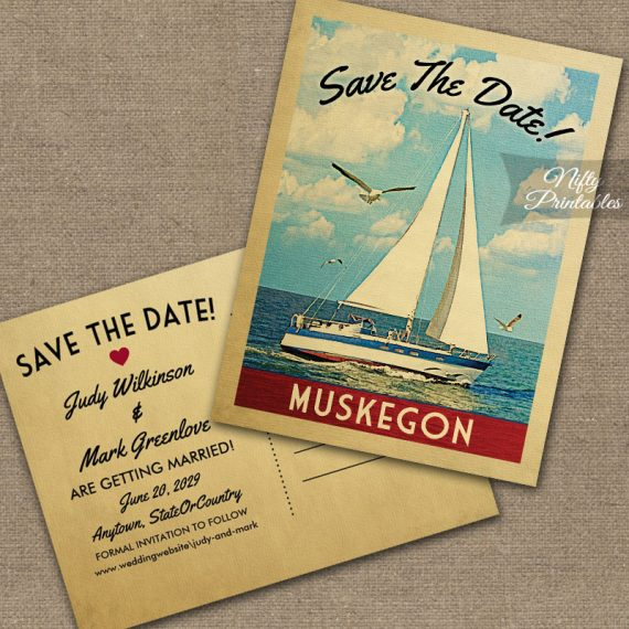 Muskegon Michigan Save The Date Sailboat Nautical PRINTED