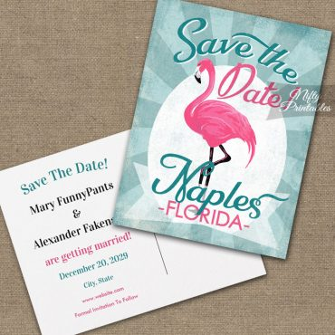 Naples Florida Save The Date Pink Flamingo PRINTED