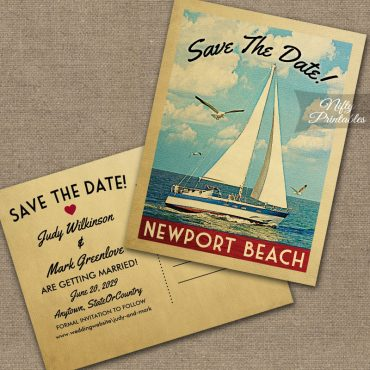 Newport Oregon Save The Date Sailboat Nautical PRINTED