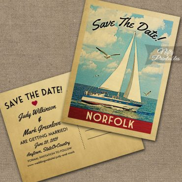 Norfolk Virginia Save The Date Sailboat Nautical PRINTED