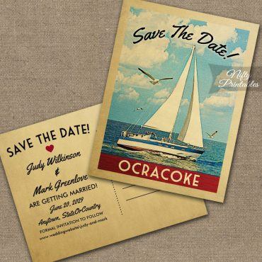 Ocracoke North Carolina Save The Date Sailboat Nautical PRINTED