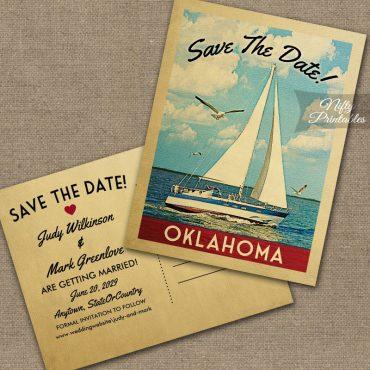 Oklahoma City Oklahoma Save The Date Sailboat Nautical PRINTED
