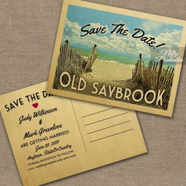 Old Saybrook Connecticut Save The Date Beach PRINTED
