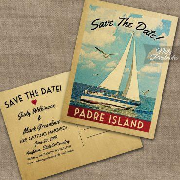 Padre Island Texas Save The Date Sailboat Nautical PRINTED
