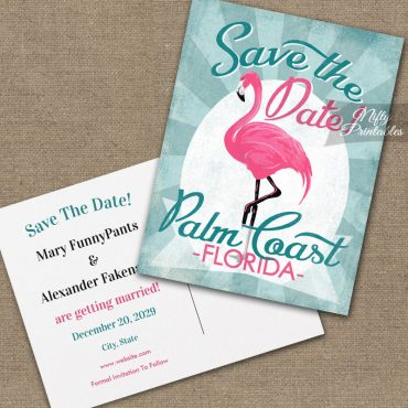 Palm Coast Florida Save The Date Pink Flamingo PRINTED