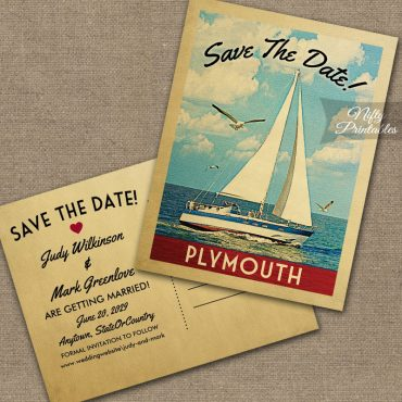Plymouth Massachusetts Save The Date Sailboat Nautical PRINTED