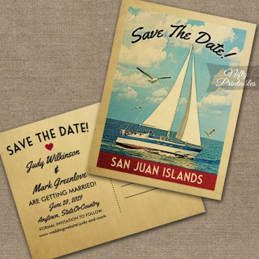San Juan Islands Washington Save The Date Sailboat Nautical PRINTED