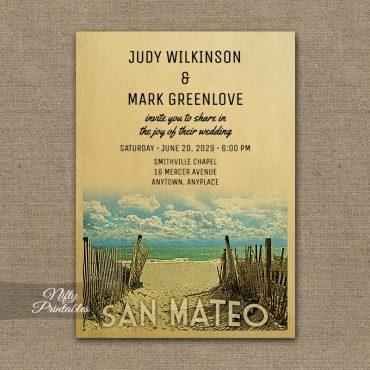 San Mateo California Wedding Invitations Beach PRINTED