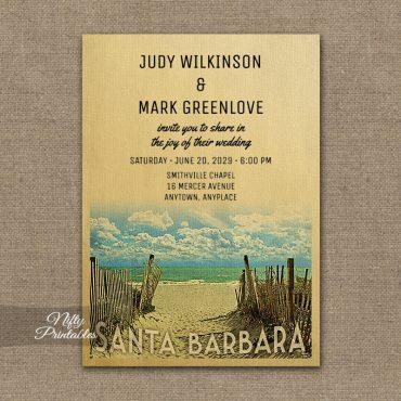 Santa Barbara California Wedding Invitation Beach PRINTED